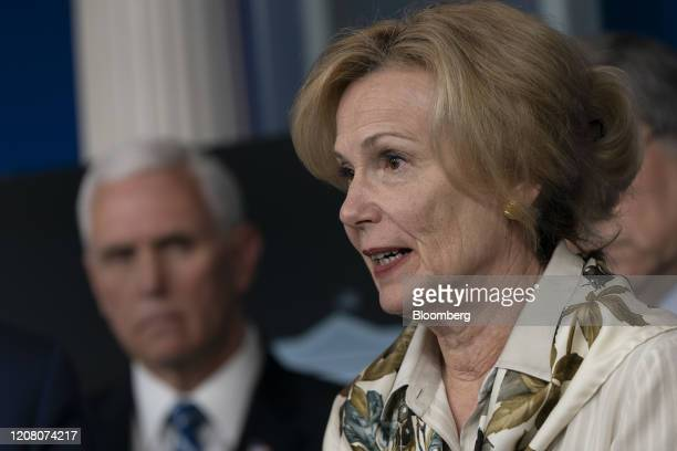 Deborah Birx coronavirus response coordinator speaks during a Coronavirus Task Force news conference in the briefing room of the White House in...