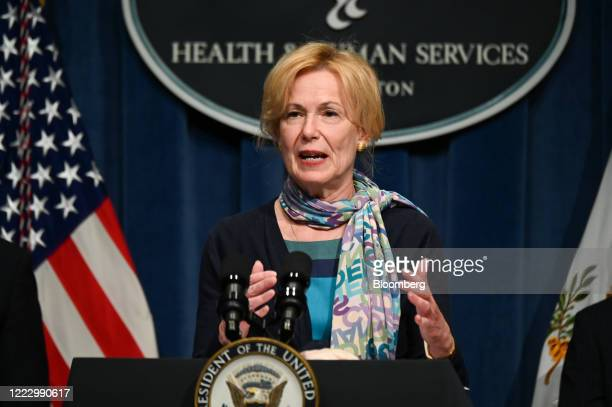 Deborah Birx, coronavirus response coordinator, speaks during a White House Coronavirus Task Force briefing at the Department of Health and Human...