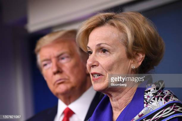 Deborah Birx coronavirus response coordinator speaks while US President Donald Trump left listens during a Coronavirus Task Force news conference in...