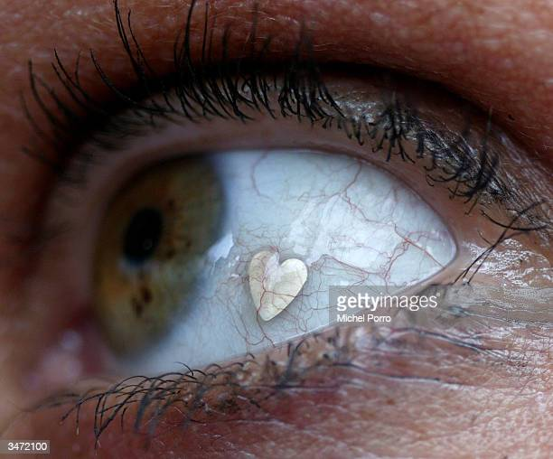 Deborah Boer has a check up on a recent cosmetic enhancement to her eyeball a platinum heart on April 27 2004 at Briebergen in the Netherlands...