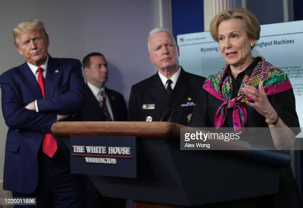 Deborah Brix White House coronavirus response coordinator speaks as President Donald Trump and during the daily coronavirus briefing at the White...