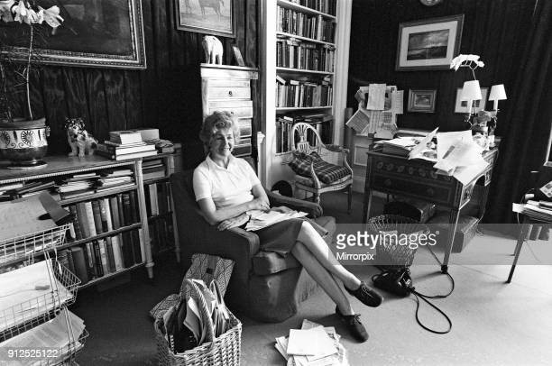 Deborah Cavendish Duchess of Devonshire pictured in her study at Chatsworth House Derbyshire 30th June 1976