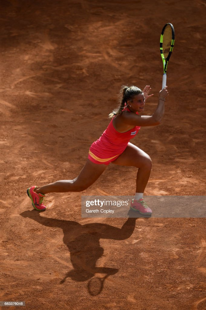 Deborah Chiesa of Italy plays a shot during her first round match against Lesia Tsurenko of Ukraine in The Internazionali BNL d'Italia 2017 at Foro Italico on May 15, 2017 in Rome, Italy.