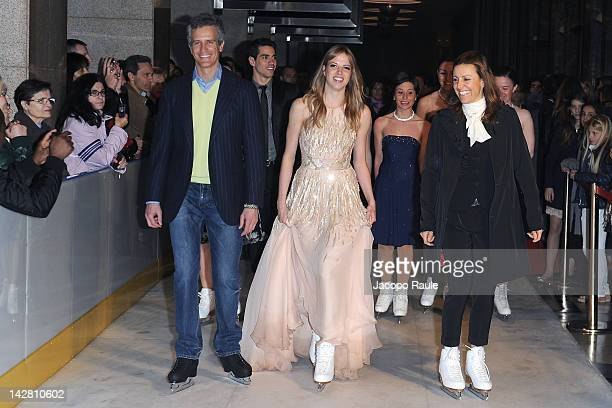 Deborah Compagnoni Carolina Kostner and Alessandro Benetton attend 'Opera On ice' Milan Premiere on April 12 2012 in Milan Italy
