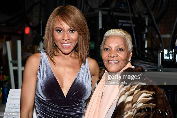 Deborah Cox and Dionne Warwick pose backstage at 'The Bodyguard' Opening Night at Paper Mill Playhouse on December 4 2016 in Millburn New Jersey
