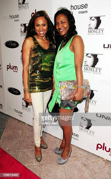 Deborah Cox and LeBron James mother Gloria James attend birthday party for Timbaland hosted by Plum TV Miami on March 9 2011 in Miami Florida