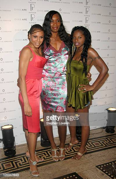Deborah Cox Venus Williams and Foxy Brown during Olympus Fashion Week Spring 2005 Chris Aire Jewelry Launch at Gotham Hall in New York City New York...