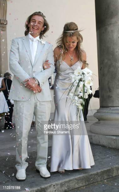 Deborah Curtis and Miles Chin during Deborah Curtis and Miles Chin Wedding at St Marylebone Church in London Great Britain