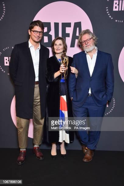 Deborah Davis and Tony McNamara with the Best Screenplay award with Josh Hartnett during the twentyfirst British Independent Film Awards held at Old...