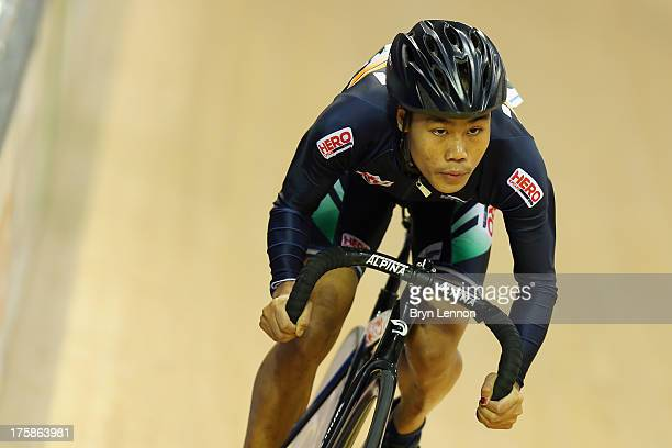 Deborah Deborah of India in action during qualifying for the Women's Sprint on day three of the 2013 UCI Juniors Track World Championships at Sir...