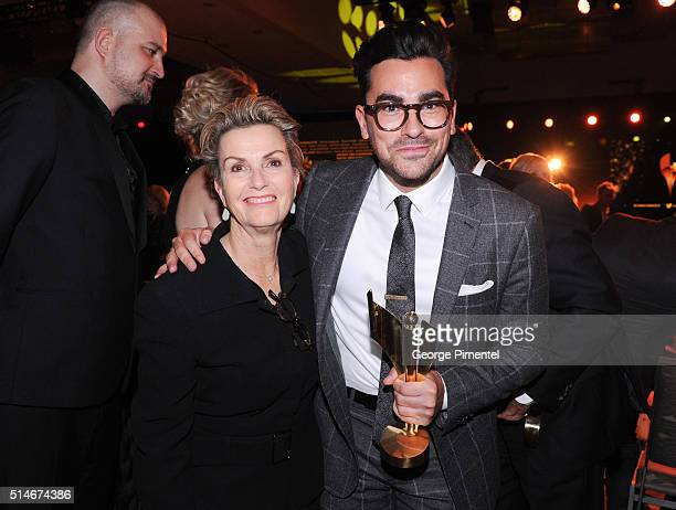 Deborah Divine Levy and actor Daniel Levy attend the Canadian Screen Awards at Westin Harbour Castle Hotel on March 9 2016 in Toronto Canada