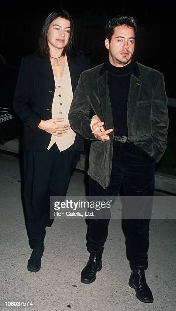 Deborah Falconer and Robert Downey Jr during Party for Sir Anthony Hopkins March 28 1993 at Ed Limato's House in Universal City California United...