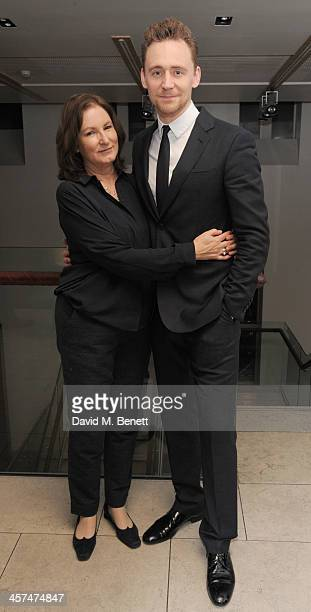 Deborah Findlay and Tom Hiddleston attend the after party on the press night of Coriolanus at The Hospital Club on December 17 2013 in London England