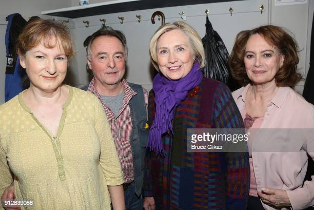 """Deborah Findlay, Ron Cook, Hillary Clinton and Francesca Annis pose backstage at the Manhattan Theatre Club's """"The Children"""" on Broadway at The..."""