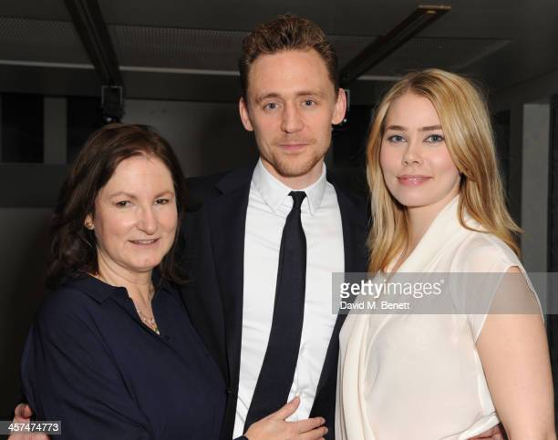 Deborah Findlay Tom Hiddleston and Birgitte Hjork Sorensen attend the after party on the press night of Coriolanus at The Hospital Club on December...