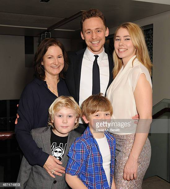 Deborah Findlay Tom Hiddleston Birgitte Hjort Sorensen Joe Willis and Tom Harrison attend the after party on the press night of Coriolanus at The...