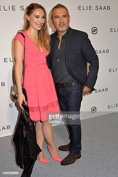 Deborah Francois and Elie Saab attend the Elie Saab show as part of the Paris Fashion Week Womenswear Spring/Summer 2015 on September 29 2014 in...