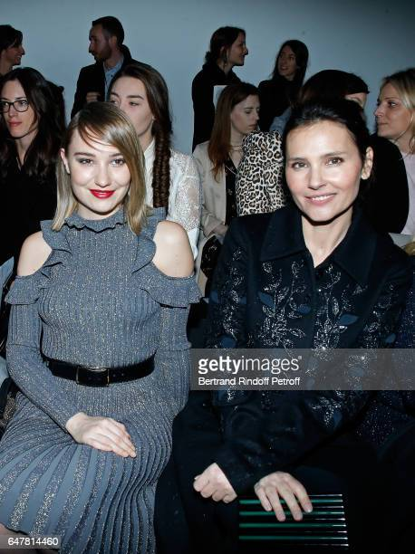 Deborah Francois and Virginie Ledoyen attend the Elie Saab show as part of the Paris Fashion Week Womenswear Fall/Winter 2017/2018 on March 4 2017 in...