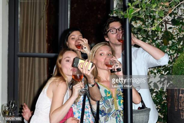 Deborah Francois, Lucie Boujenah, Lilou Fogli and Thomas Soliveres attend the Millesime Champagne Rose 2008 By Maison Piper Heidsieck : Launch Party...