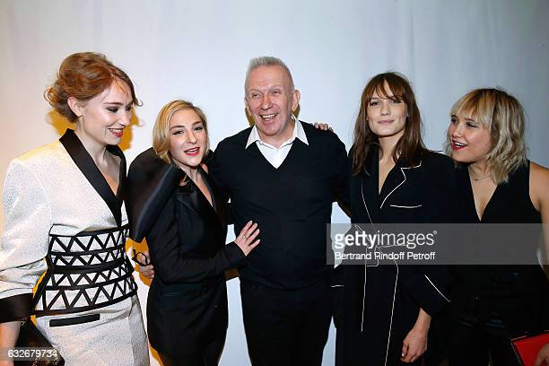Deborah Francois Marilou Berry Stylist JeanPaul Gaultier Ana Girardot and Berengere Krief pose after the Jean Paul Gaultier Haute Couture Spring...