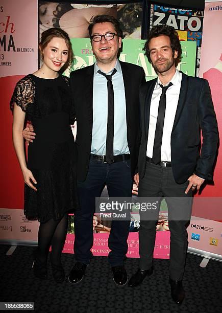 Deborah Francois Regis Roinsard and Romain Duris attend the London Film Premiere of 'Populaire' at Curzon Soho on April 4 2013 in London England