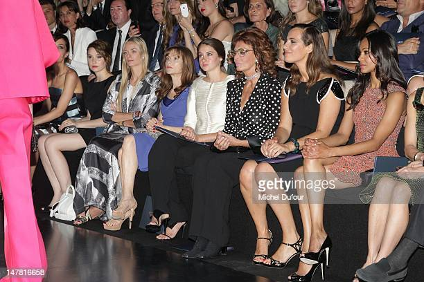 Deborah Francois, Virginie Courtin, Isabelle Huppert, guest, Sophia Loren, Roberta Armani and Zoe Saldana attend the Giorgio Armani Prive...