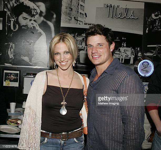 Deborah Gibson and Nick Lachey during Napster To Go Cafe Comes to Los Angeles with Free Digital Music and MP3 Player Giveaways at Mel's DriveIn in...