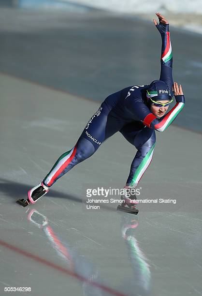 Deborah Grisenti of Italy competes in the ladies 500 m heats during day 1 of ISU speed skating junior world cup at ice rink Pine stadium on January...
