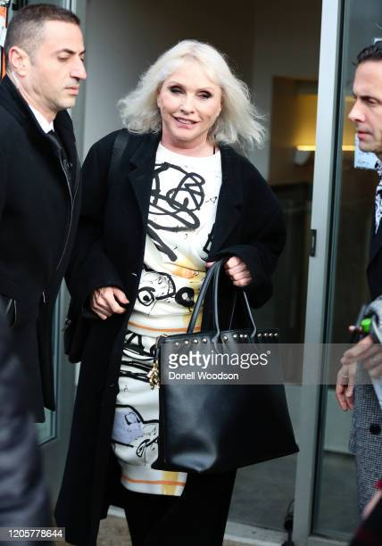 Deborah Harry is seen outside of the Coach show during New York Fashion Week on February 11 2020 in New York City