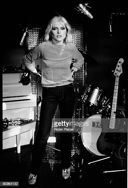 Deborah Harry of Blondie getting ready to do a jeans commercial