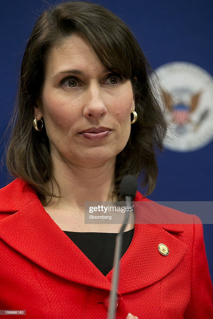 Deborah Hersman, chairman of the National Transportation Safety Board (NTSB), speaks during a news conference in Washington, D.C., U.S., on Thursday, Jan. 24, 2013. The design of Boeing Co.'s Dreamliner should have prevented battery incidents that prompted regulators to ground the plane on Jan. 7, Hersman said. Photographer: Andrew Harrer/Bloomberg via Getty Images