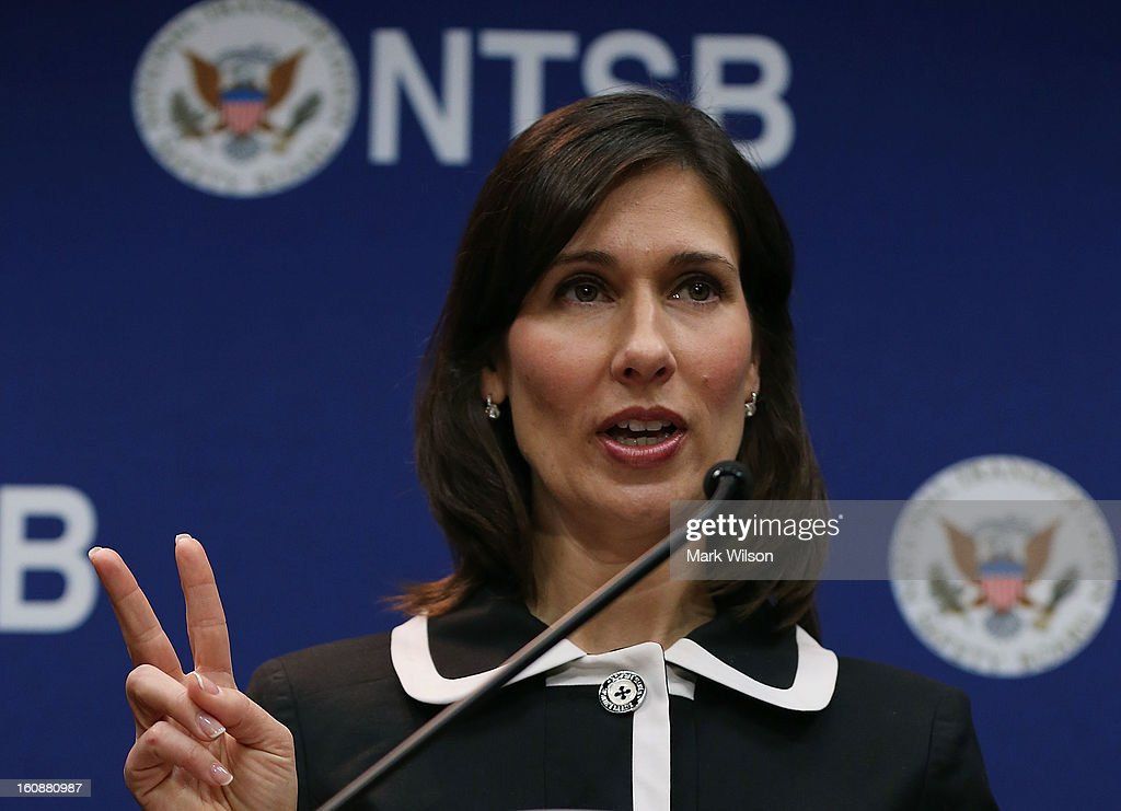 Deborah Hersman, Chairman of the National Transportation Safty Board (NTSB), speaks during a news conference at NTSB Headquarters, on February 7, 2013 in Washington, DC. The news conference was held to give a update on the NTSB investigation into the January 7 fire that occurred on a Japan Airlines Boeing 787 at Logan International Airport in Boston.