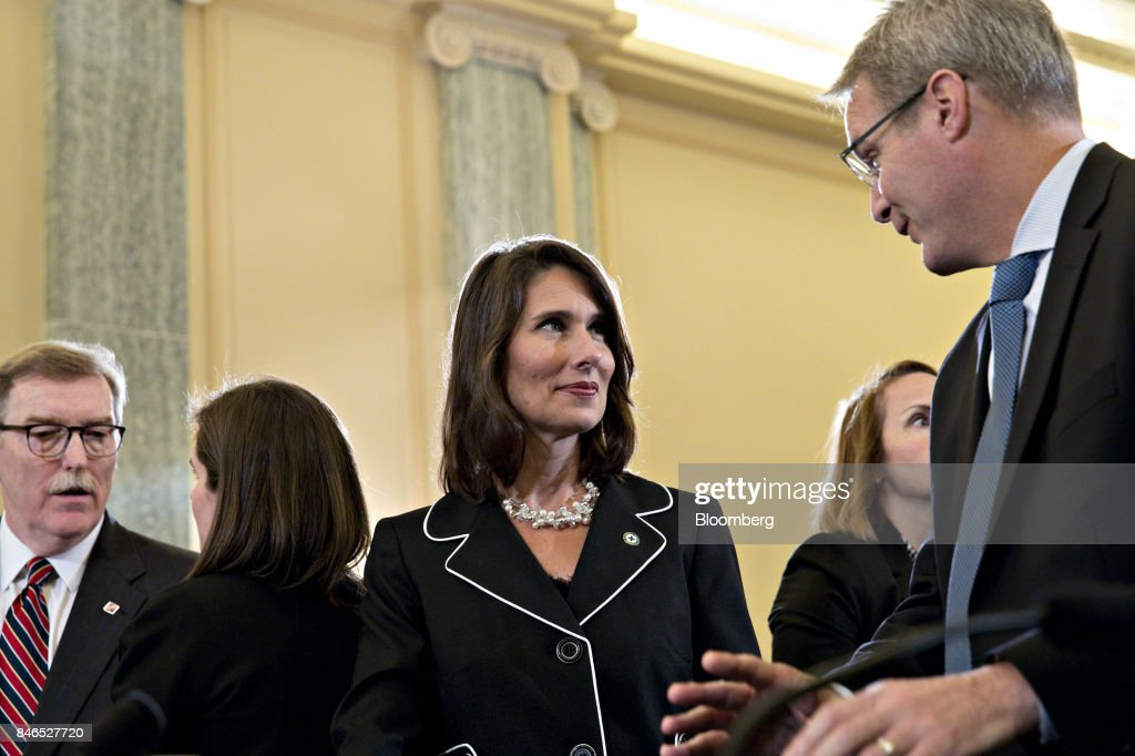 Deborah Hersman, president and chief executive officer of the National Safety Council, center, talks to Chris Spear, president and chief executive officer of the American Trucking Associations Inc., before a Senate Commerce, Science, and Transportation Committee hearing in Washington, D.C., U.S., on Wednesday, Sept. 13, 2017. The hearing is titled, Transportation Innovation: Automated Trucks and our Nation's Highways. Photographer: Andrew Harrer/Bloomberg via Getty Images