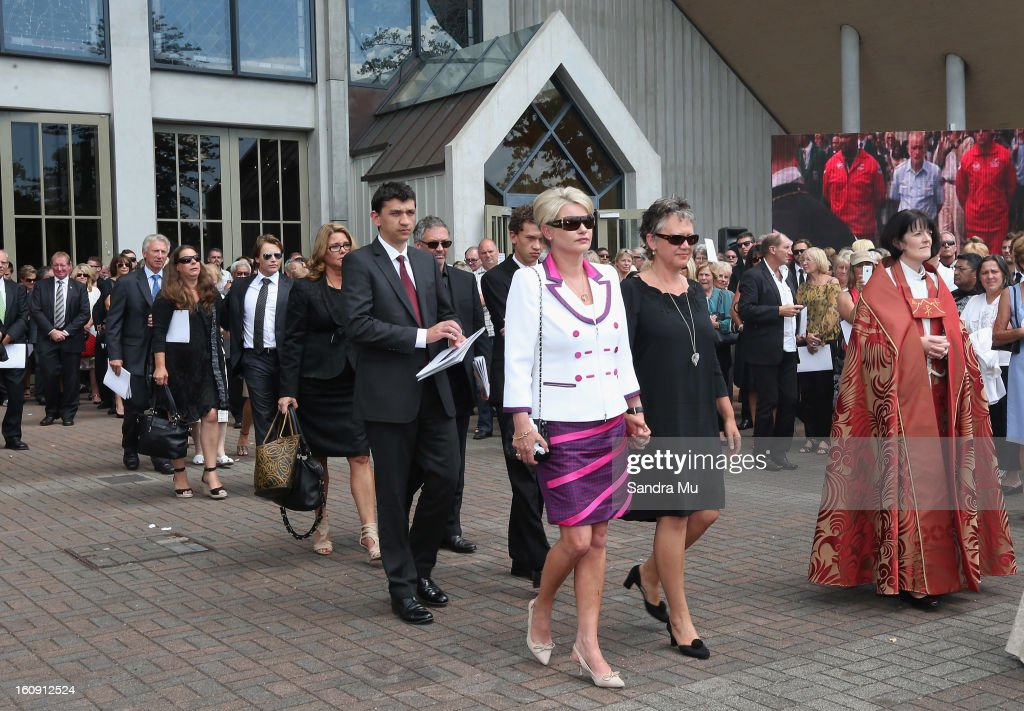 Deborah Holmes, wife of Sir Paul Holmes walks out of the service at Auckland Cathedral of the Holy Trinity in Parnell on February 8, 2013 in Auckland, New Zealand. Hundreds gathered to pay their respects to Sir Paul Homes who passed away last Friday after losing his battle with prostate cancer. Holmes' broadcasting career spanned over 40 years on radio and television in New Zealand, Australia, Netherlands and the UK.