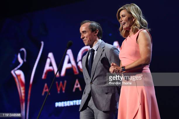 Deborah Hutton and Benedict Hardie present the AACTA Award for Best Editing during the 2019 AACTA Awards Presented by Foxtel | Industry Luncheon at...