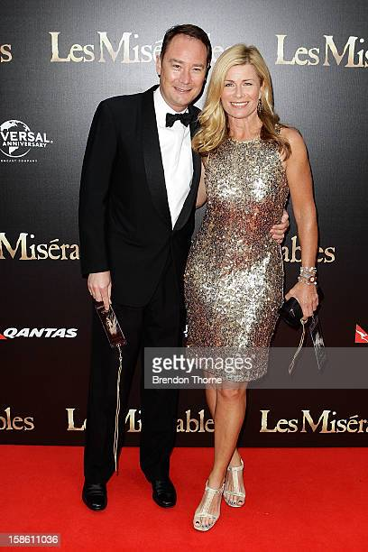 Deborah Hutton and guest walk the red carpet during the Australian premiere of 'Les Miserables' at the State Theatre on December 21 2012 in Sydney...