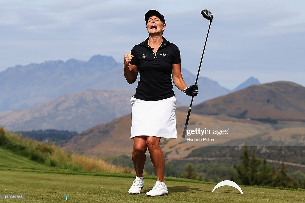 Deborah Hutton celebrates after teeing off during day three of the New Zealand PGA Championship at The Hills Golf Club on March 2, 2013 in Queenstown, New Zealand.