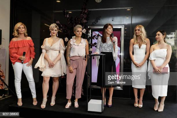 Deborah Hutton Stefania Ferrario Moana Hope Anthea O'Connor Elyse Knowles and Tina Yong attends the Myer Beauty Campaign Launch Beauty Brunch on...