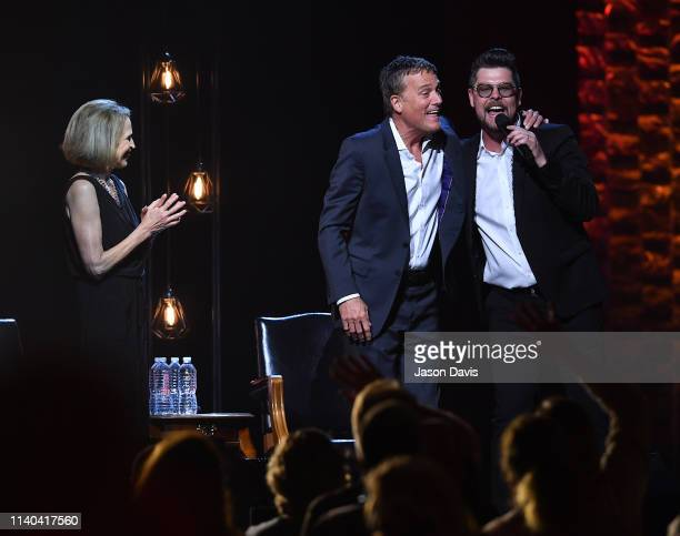 Deborah Kay Davis Smith and recording artists Michael W Smith and Jason Crabb perform on stage during 35 Years of Friends Celebrating The Music Of...