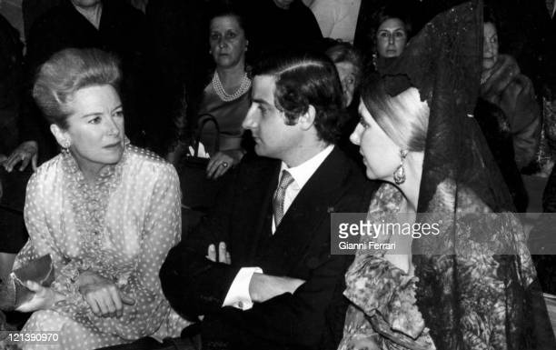 Deborah Kerr in a theater in Marbella with the Duchess Cayetana of Alba and her son Alfonso Malaga Spain