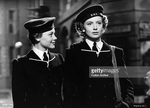 Deborah Kerr is home on leave but does not want to return to her marital home without the support of her friend Glynis Johns in a scene from 'Perfect...
