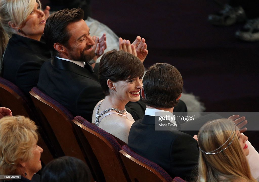 Deborah Lee Furness, Hugh Jackman, Anne Hathaway, andAdam Shulman attend the Oscars held at the Dolby Theatre on February 24, 2013 in Hollywood, California.