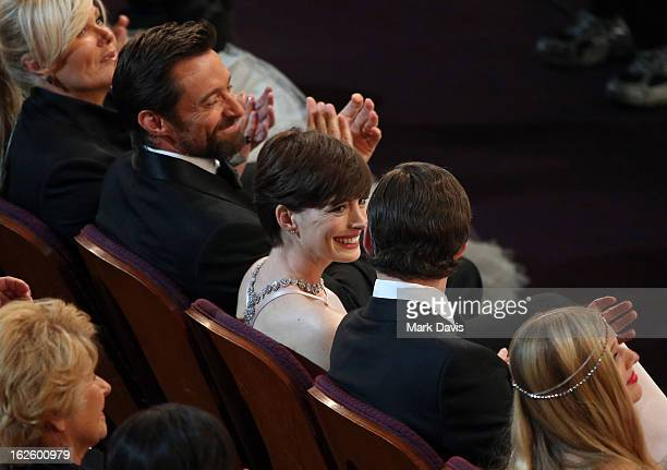 Deborah Lee Furness Hugh Jackman Anne Hathaway andAdam Shulman attend the Oscars held at the Dolby Theatre on February 24 2013 in Hollywood California