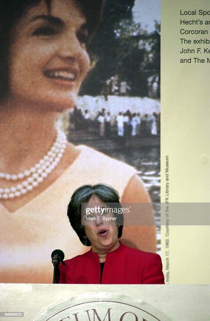 Deborah Leff, director of the John F. Kennedy Library amd Museum, speaks at the Corcoran Gallery of Art on Tuesday at the press preview of 'Jacqueline Kennedy: The White House Years' exhibit.