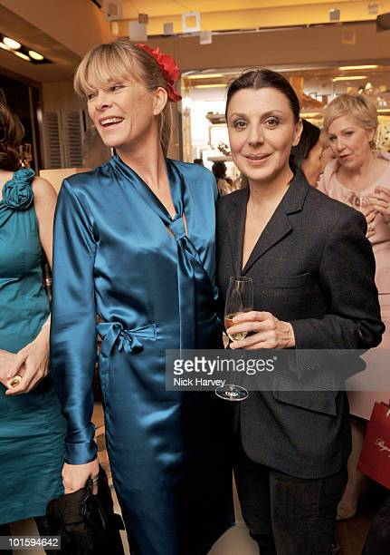 Deborah Leng and Allegra Donn attend the cocktail party for the launch of the 'Miss Viv' handbag collection by Roger Vivier on March 16 2010 in...