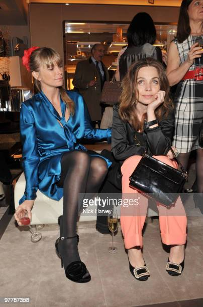 Deborah Leng and Jeanne Marine attend the cocktail party for the launch of the 'Miss Viv' handbag collection by Roger Vivier on March 16 2010 in...