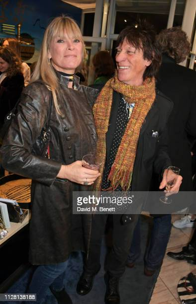 Deborah Leng and Jeff Beck attend the Bell Hutley Homeware Collection launch at Baar Bass on February 28 2019 in London England
