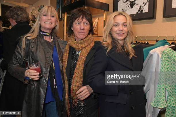 Deborah Leng Jeff Beck and Jeanne Marine attend the Bell Hutley Homeware Collection launch at Baar Bass on February 28 2019 in London England