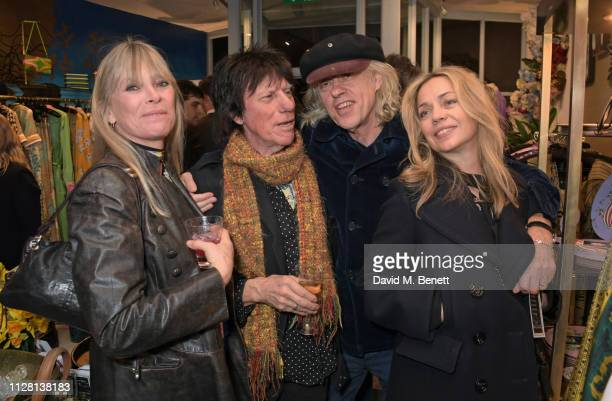 Deborah Leng Jeff Beck Sir Bob Geldof and Jeanne Marine attend the Bell Hutley Homeware Collection launch at Baar Bass on February 28 2019 in London...