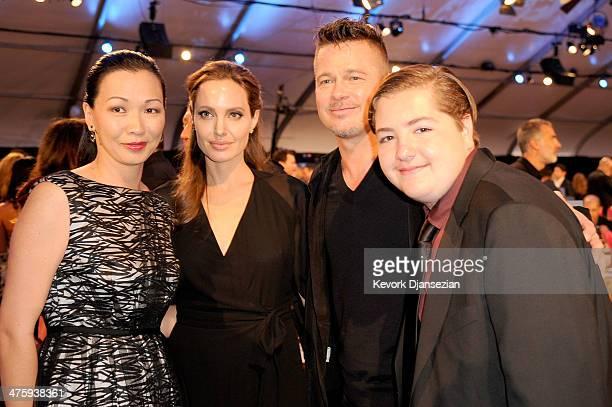 Deborah Lin actors Brad Pitt and Angelina Jolie and Michael Gandolfini attend the 2014 Film Independent Spirit Awards at Santa Monica Beach on March...